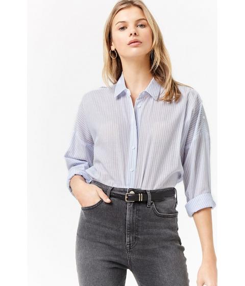 Imbracaminte Femei Forever21 Semi-Sheer Stripe Shirt WHITEBLUE