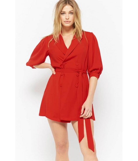 Imbracaminte Femei Forever21 Double-Breasted Longline Jacket RED