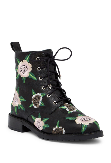 Incaltaminte Femei Rebecca Minkoff Gerry Embroidered Lace-Up Boot BLACK