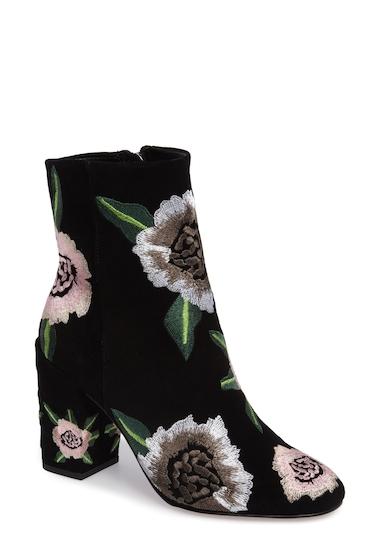 Incaltaminte Femei Rebecca Minkoff Bryce Flower Embroidered Bootie BLACK SUED
