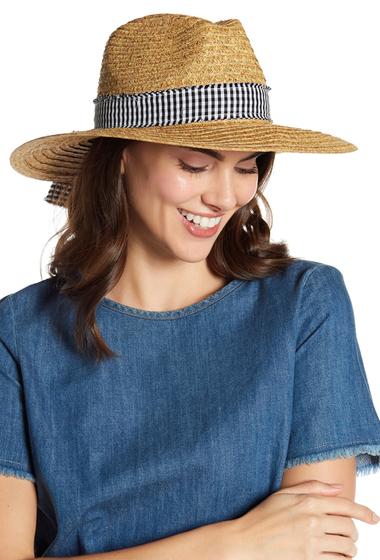Accesorii Femei San Diego Hat Company Straw Gingham Panel Fedora NATURALBLACKWHITE GINHAM