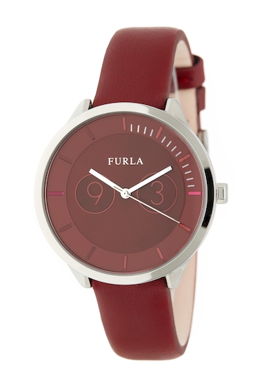 Ceasuri Femei Furla Womens Metropolis Leather Watch RED