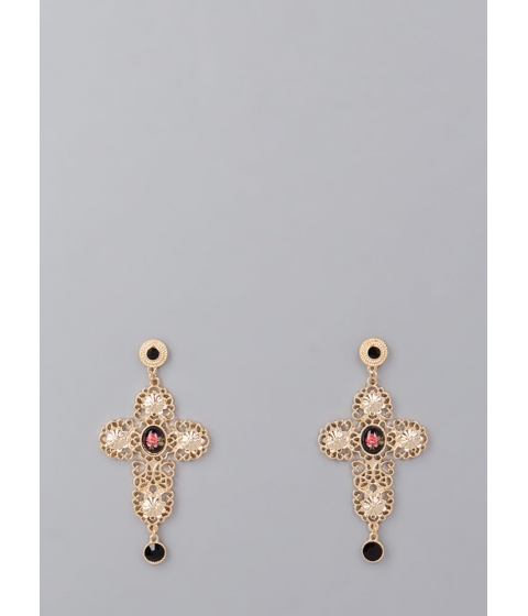 Bijuterii Femei CheapChic Come Up Roses Jeweled Cross Earrings Gold