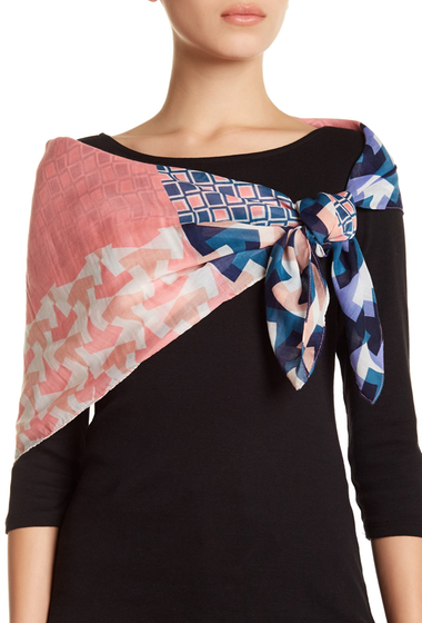 Accesorii Femei 14th Union Pop Spliced Geo Print Square Scarf BLUSH COMBO