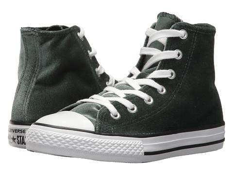 Incaltaminte Fete Converse Chuck Taylor All Star Velvet - Hi (Little KidBig Kid) Deep EmeraldWhiteWhite