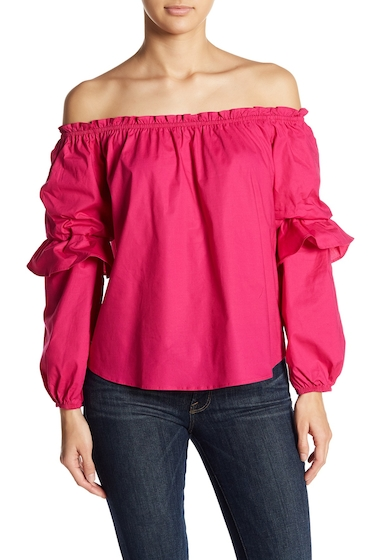 Imbracaminte Femei Socialite Off-the-Shoulder Tiered Sleeve Blouse FUSCHIA