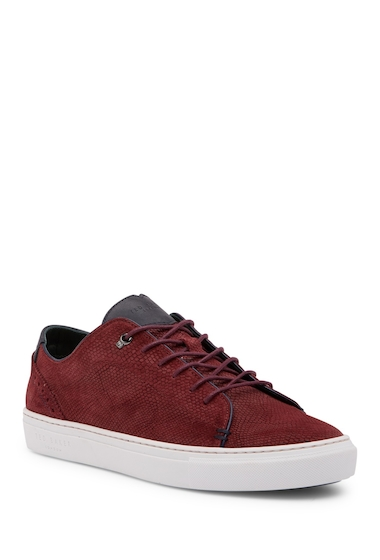 Incaltaminte Barbati Ted Baker London Duuke Embossed Suede Sneaker DK RED