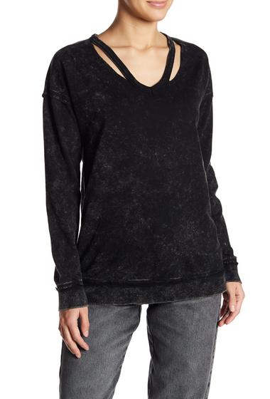 Imbracaminte Femei Socialite Slashed V-Neck Sweatshirt BLACK