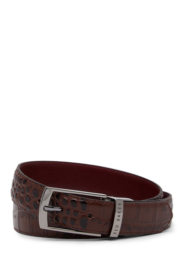 Accesorii Barbati Ted Baker London Textured Leather Belt CHOCOLATE