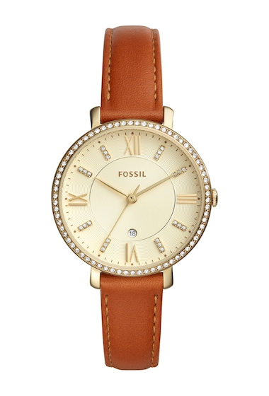 Ceasuri Femei Fossil Womens Jacqueline Crystal Embellished Leather Strap Watch 36mm NO COLOR