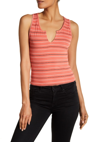 Imbracaminte Femei Michelle by Comune Stripe Ribbed Knit Crop Tank DEEP CORALWHTBLK
