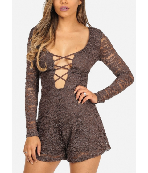 Imbracaminte Femei CheapChic Sexy Brown Sparkle Details Long Sleeve Lace Up Plunge Neck Romper Multicolor