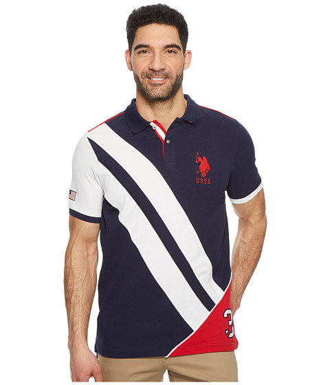 Incaltaminte Barbati US Polo Assn Short Sleeve Classic Fit Fancy Pique Polo Shirt Classic Navy