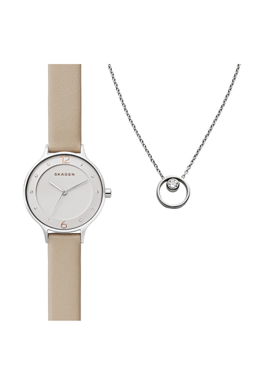 Ceasuri Femei Skagen Womens Anita Watch Elin CZ Pendant Necklace Set 30mm NO COLOR