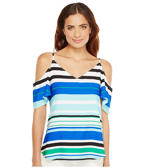 Imbracaminte Femei Calvin Klein Printed Cold Shoulder Flutter Sleeve Top Manganese Combo