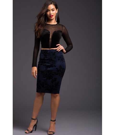 Imbracaminte Femei CheapChic Flocked Me Pencil Skirt Navy