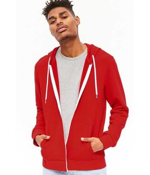 Imbracaminte Barbati Forever21 French Terry Zip-Up Hoodie RED