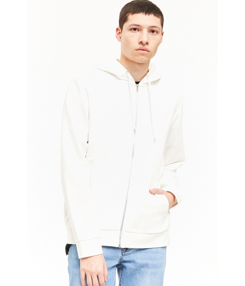 Imbracaminte Barbati Forever21 French Terry Zip-Up Hoodie IVORY