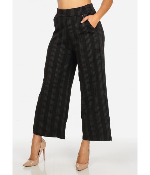 Imbracaminte Femei CheapChic Elegant High Waist Black and Charcoal Striped Skinny Pants Multicolor