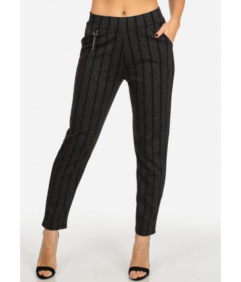 Imbracaminte Femei CheapChic Elegant High Rise Black and Charcoal 2-Pocket Skinny Pants Multicolor