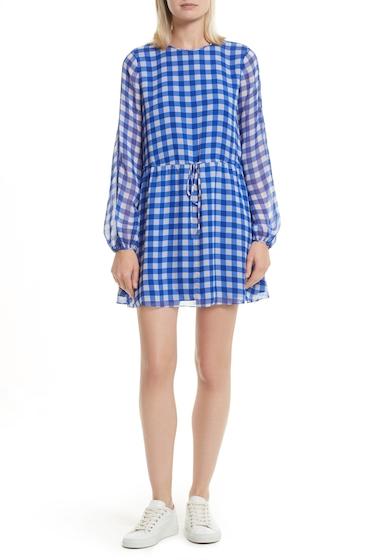 Imbracaminte Femei Diane Von Furstenberg Check Silk Tie Waist Minidress COSSIER LARGE KLEIN BLUE