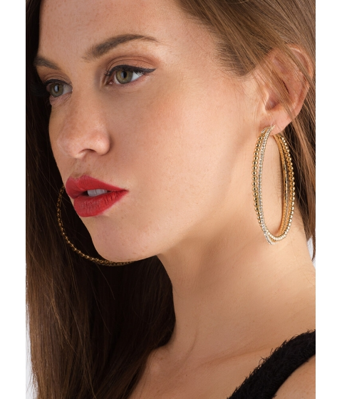 Bijuterii Femei CheapChic Hit It Big Skinny Jeweled Hoop Earrings Gold