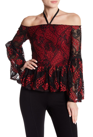 Imbracaminte Femei Romeo Juliet Couture Lace Flare Cuff Top RED