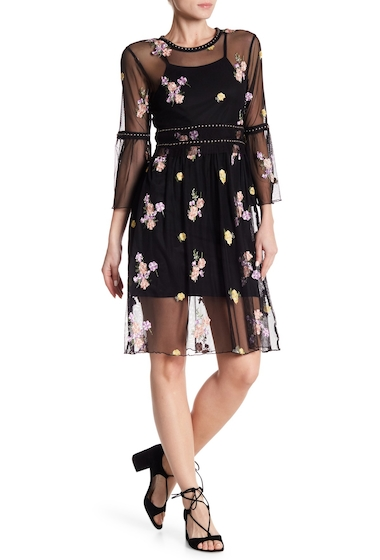 Imbracaminte Femei Romeo Juliet Couture Studded Scoop Embroidered Dress BLACK