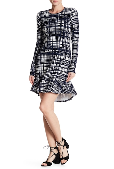 Imbracaminte Femei Go Couture Long Long Sleeve Hi-Lo Knee Length Dress NAVY WHITE CHECKERS