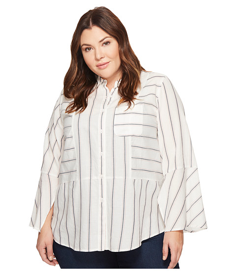 Imbracaminte Femei Vince Camuto Plus Size Bell Sleeve Yarn-Dye Stripe Collared Shirt New Ivory