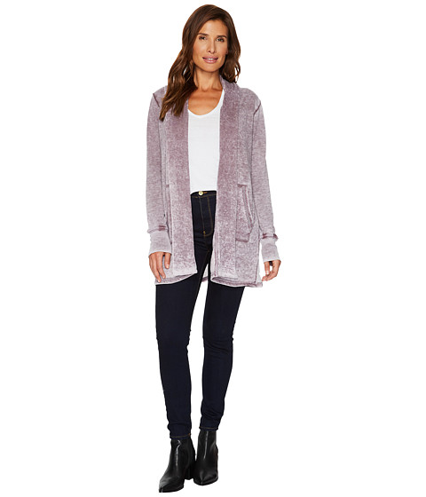 Imbracaminte Femei Allen Allen Long Sleeve Open Cardigan Plum Raisin