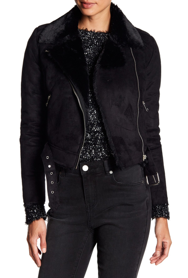 Imbracaminte Femei Romeo Juliet Couture Faux Suede Faux Fur Lined Asymmetrical Zip Jacket BLACK
