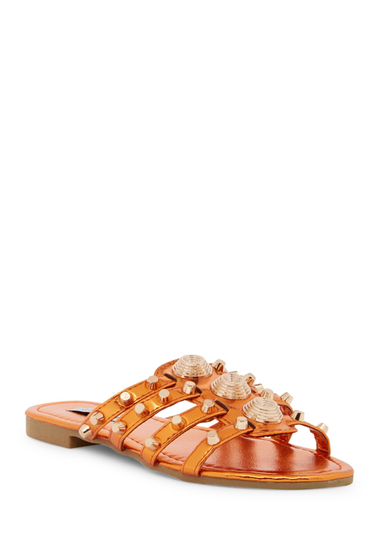 Incaltaminte Femei Cape Robbin Vintage Studded Slide Sandal ORANGE