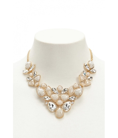 Bijuterii Femei Forever21 Faux Gem Statement Necklace GOLDCLEAR