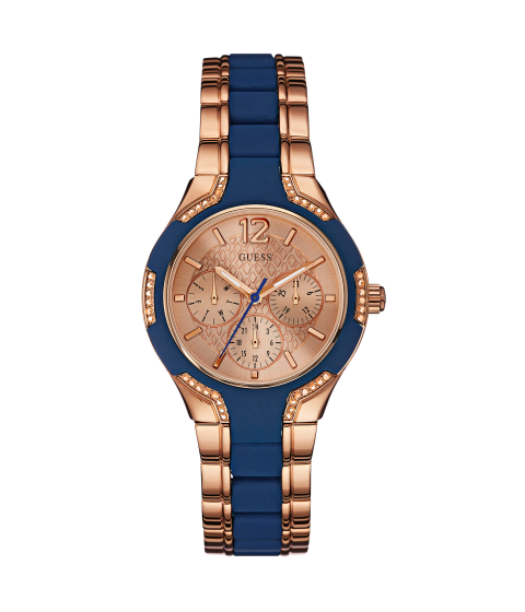 Ceasuri Femei GUESS Rose Gold-Tone and Blue Watch no color