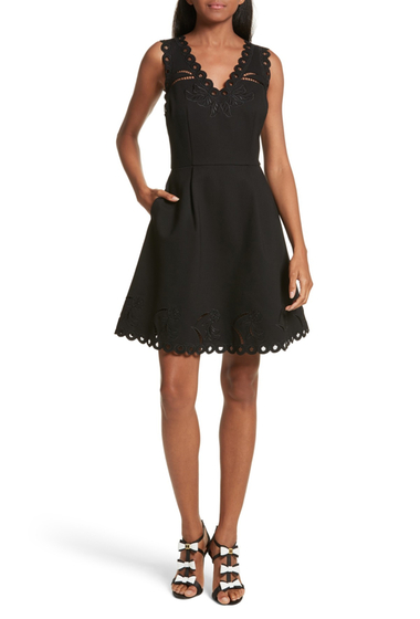 Imbracaminte Femei Ted Baker London Emalise Embroidered Skater Dress BLACK