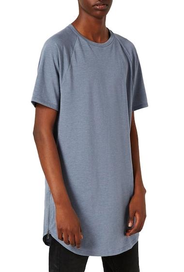 Imbracaminte Barbati TOPMAN Longline T-Shirt with Side Zips MID BLUE