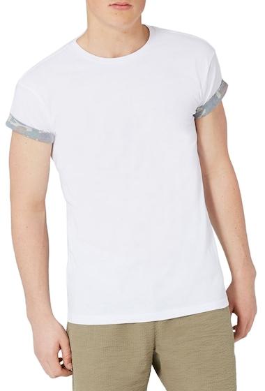 Imbracaminte Barbati TOPMAN Camo Trim Muscle Fit Roller T-Shirt WHITE MULTI