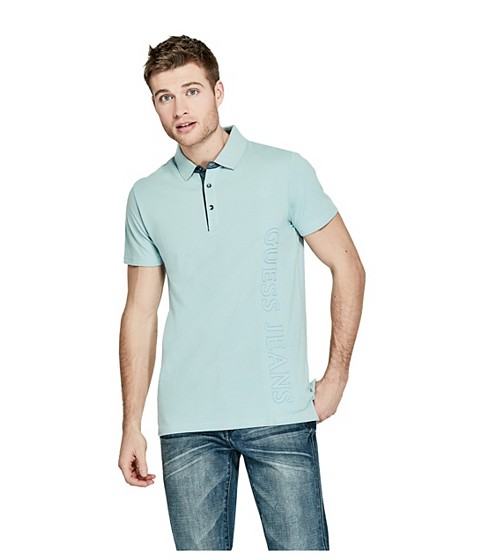 Imbracaminte Barbati GUESS Earle Logo Polo new forget me not