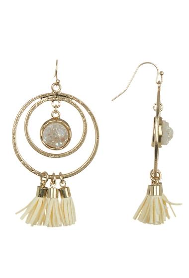 Bijuterii Femei Melrose and Market Double Ring Druzy Tassel Hoop Earrings WHITEGOLD