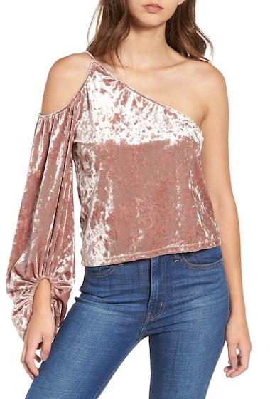 Imbracaminte Femei Leith One-Shoulder Velour Top PINK ADOBE
