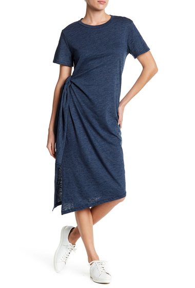 Imbracaminte Femei Lush Asymmetrical Side Tie Knit Midi Dress NAVY