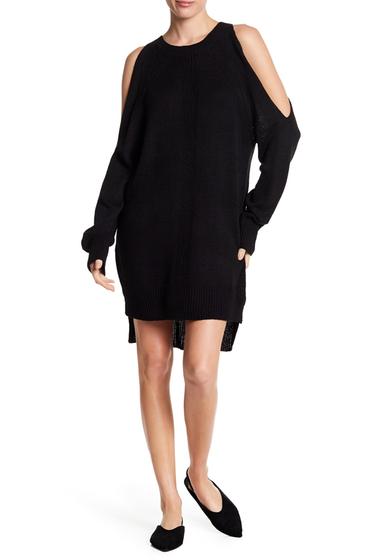Imbracaminte Femei Lush Distressed Back Cold Shoulder Sweater Dress BLACK