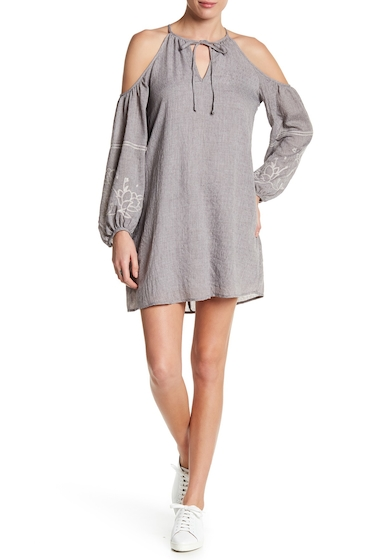 Imbracaminte Femei Lush Embroidered Cold Shoulder Crepe Dress GREY