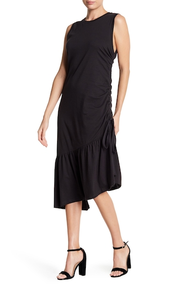Imbracaminte Femei Lush Asymmetrical Ruffle Ruched Knit Midi Dress CHARCOAL