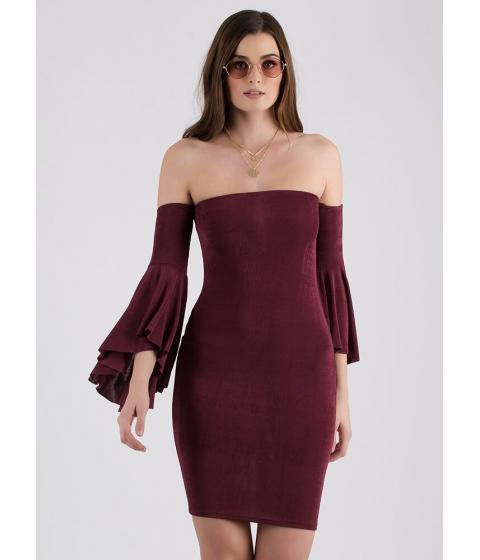 Imbracaminte Femei CheapChic The Drama Off-shoulder Bell Sleeve Dress Berry