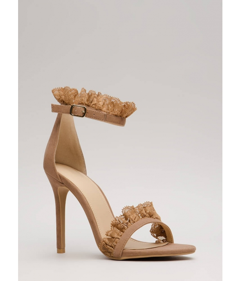 Incaltaminte Femei CheapChic Frilled To Bits Ruffled Lace Trim Heels Taupe