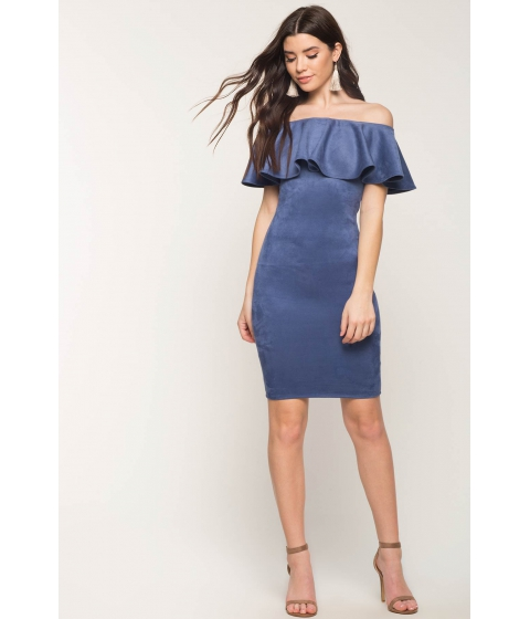 Imbracaminte Femei CheapChic Forever Flounce Suede Dress Dusty Blue