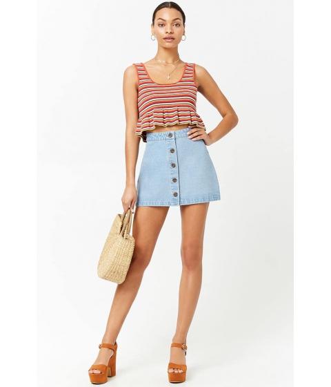 Imbracaminte Femei Forever21 Button-Front Denim Skirt LIGHT DENIM