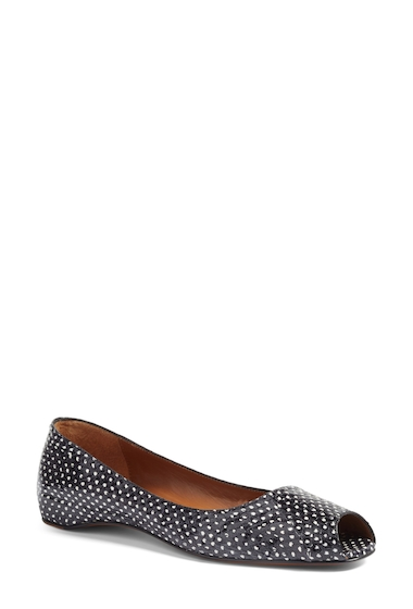 Incaltaminte Femei Aquatalia by Marvin K Camille Genuine Snakeskin Peep Toe Flat BLACK